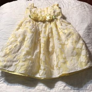 Yellow and White Floral Dress with Rosettes 18M